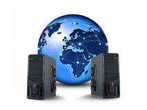 Networking/Internet concept. World globe interconnected by wire , fiber optics and servers, networking concept Royalty Free Stock Photos
