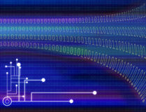 Networking Internet Connections background. Abstract background of a purple and blue illustration of binary code and a circuit board below Royalty Free Stock Images