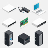 Networking isometric detailed icons set Stock Photography