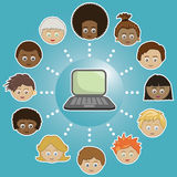 Networking kids with computer Royalty Free Stock Photo