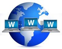 Networking laptop and globe illustration Royalty Free Stock Image