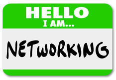 Networking Nametag Sticker Meeting People Making Connections. Networking name tag sticker to wear when meeting people and making connections at a mixer Stock Image