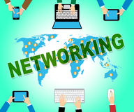 Networking Online Shows Global Communications And Connectivity Royalty Free Stock Photos