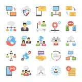 Networking Płaskie Wektorowe ikony Ustawiać Zdjęcie Royalty Free