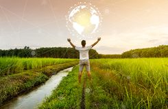 Networking people global and connection concept. Networking people and connection concept, Man with earth circle in countryside, Countryside connect to the world stock image