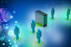 Networking people with server Stock Image