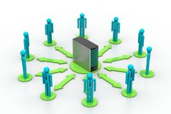Networking people with server Royalty Free Stock Image