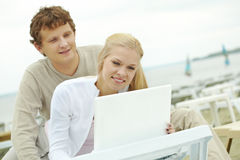 Networking on resort Royalty Free Stock Image
