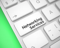 Networking Services - Message on White Keyboard Button. 3D. Royalty Free Stock Photo