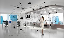 Networking and social communication concept as effective point for modern business stock illustration