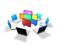 Networking, social communication concept idea with laptops and  bubbles Royalty Free Stock Images