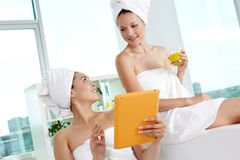 Networking in spa salon Royalty Free Stock Photo