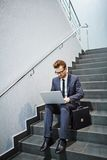 Networking on stairs Royalty Free Stock Images