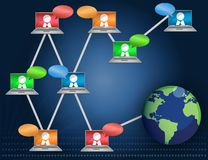 Networking / Teamwork. Laptop Networking communication business graph isolated over a white background Stock Photos