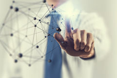 Networking technologies and social interaction . Mixed media Royalty Free Stock Image