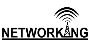 Networking Tower Logo. A clip art illustration featuring the words 'networking' which can be used as part of a logo or as just a design element. Ideal for print