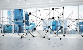 Networking and wireless connection as concept for effective modern business. Lines connected with dots as social communication concept in office interior. 3D Royalty Free Stock Images