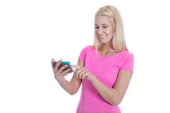 Networking: young woman chatting with her friends - isolated. Stock Photography