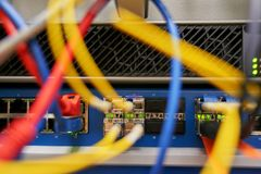 networkplugs σε ένα κέντρο δεδομένων στοκ εικόνα με δικαίωμα ελεύθερης χρήσης