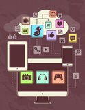 Networks. Conceptual picture of connection between gadgets, icons, networks, cloud. Vector illustration. Retro primitive style Royalty Free Stock Images