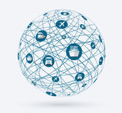 Networks, global connections of services in delivery goods. Royalty Free Stock Photography