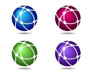 Networks Globe Connections Logo Symbols Icons. Four Colors Blue, Red, Green and Purple, Networks Globe Connections Logo Symbols Icons stock illustration