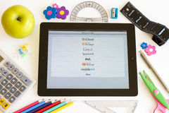 Networks on Ipad 3 with school accesories Royalty Free Stock Photo