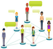 Networks of people with callouts Stock Photo