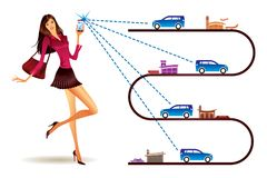 Networks for shared transportation. Vector illustration Royalty Free Stock Photos