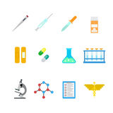 Netz-APP-Ikonen des Vektors flache Labor: Krankenhauschemikalie pharmazeutisch Stockbilder