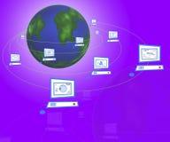 Netz-Computer um die Erde Stockbild