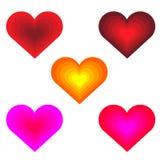 Netz-Dekor für Ausrichtung Stellen Sie von sechs mehrfarbigen Herzen ein, die auf wei?em Hintergrund lokalisiert werden Auch im c stock abbildung