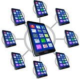 Netz der intelligenten Telefone mit Apps lizenzfreie abbildung