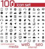 Netz des Vektorschwarzen 100 und Medienikonen Lizenzfreie Stockbilder