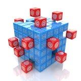Netz des Würfels 3d Stockfotos