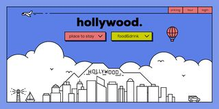Netz-Fahnen-Entwurf Hollywood moderner mit Vektor-linearen Skylinen lizenzfreie abbildung