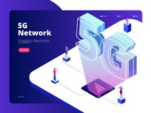 Netz 5g Drahtloses der Technologieinternet-Geschwindigkeit der Datenübertragung 5g wifi fünf Krisenherde Breitbandglobale Verne lizenzfreie abbildung