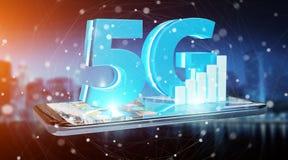 Netz 5G mit Wiedergabe des Handys 3D Stockbild
