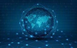 Netz-globale Erdkommunikationsnetzkarte des Hintergrundkartenweltvektors der Weltglobalen netwo Logistik des blauen Karte dunkelb lizenzfreie abbildung