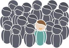 Netz-Ikonen, die Leute mit positiver und negativer Haltung zeigen Lizenzfreie Stockbilder