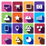 Netz-Ikonen eingestellt in flaches Design Stockbild