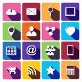 Netz-Ikonen eingestellt in flaches Design Lizenzfreie Stockbilder