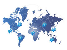 Netz-Illustrationsentwurf der Weltkarte medizinischer Stockbild