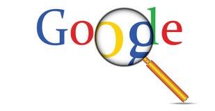 Netz-Internet-Suche Google simsen und Lupe stockfotografie