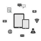 Netz, Kommunikationsikonen: Internet-Vektorsatz Lizenzfreies Stockbild