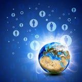 Netz-Kontakte und Erde Hightech- Hintergrund Lizenzfreie Stockfotografie