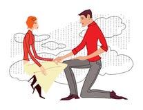 Netz-Liebeserklärung, junger Mann in einer roten Strickjacke, stehend auf seinem Knie, hält ein Sitzmädchen durch die Hand stock abbildung