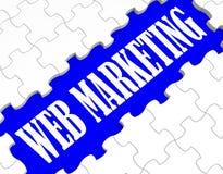 Netz-Marketing-Puzzlespiel zeigt Internet-Verkäufe Lizenzfreies Stockfoto