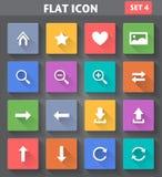Netz-Navigations-Ikonen stellten in flache Art mit langem s ein Lizenzfreies Stockbild