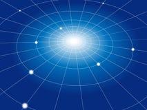 Netz-Rasterfeld der konzentrische Kreis-Knotenpunkte Stockbilder